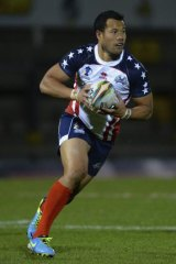 Stars in stripes: Joseph Paulo in action for the US during the Rugby League World Cup last year.