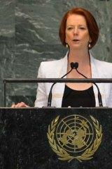 Julia Gillard speaks at the UN.