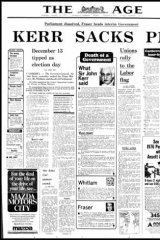 Front page of The Age newspaper from Wednesday 12 November 1975.