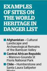 Examples of sites on the World Heritage in danger list.