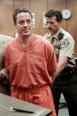 Bad day: Actor Robert Downey Jr. at the Municipal Court in Malibu, California, following his sentencing in August 1999.