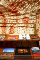 'The Crying Place' sits among other books in Coober Pedy's underground bookshop.