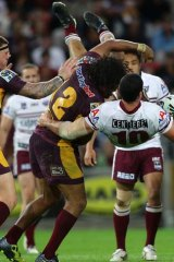 On report ... Broncos' Sam Thaiday in hot water over a tackle on Brent Kite.