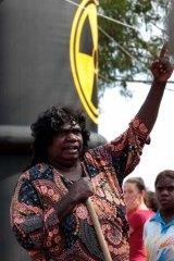 Aboriginal leader Diane Stokes protests at Muckaty Station.