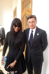 Slovenia's President Borut Pahor with Naomi Campbell at Nelson Mandela's funeral, in Johannesburg, South Africa, in 2013.