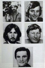 The Balibo Five: (Clockwise from top-left) Brian Peters, Malcolm Rennie, Gary Cunningham, Greg Shackleton and Tony Stewart.