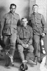 Serving: Private Douglas Grant, left, with Private Harry Avery and an unidentified British soldier.