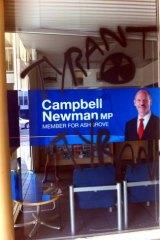 Queensland Premier Campbell Newman's electorate office has been vandalised.