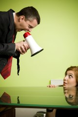 Wrong message: A bullying manager scares an employee into hiding.