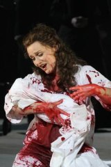 The strain and the stain: Emma Matthews is soaking with blood in <i>Lucia di Lammermoor</i>.