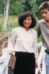 "Age gap: Ms Liu with her ""husband"" David Shultz."