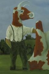 John Kelly's <i>Cow Man and Upside Down Cow</i>, 1992.