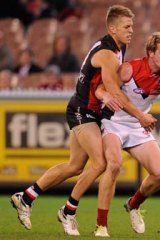 Jack Watts battles with St Kilda's Sean Dempster.
