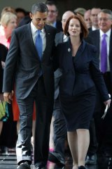 Charismatic ... Prime Minister Julia Gillard and US President Barack Obama at Parliament House in Canberra.