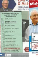 Labor MP Michael Danby's two how-to-vote cards.