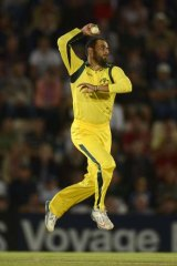 Fawad Ahmed in Twenty20 action for Australia.