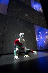 Installation shot of David Bowie at the Victoria and Albert Museum in London.