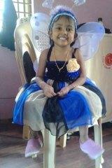 Sri Lankan girl Febrina, 3, a passenger on the missing boat of asylum seekers.