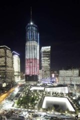 The One World Trade Centre and the September 11 Memorial are ablaze in lights in preparation for the city marking the 10th anniversary of the terrorist attacks.