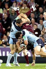 Tensions boiled over after this spear tackle on Darius Boyd.