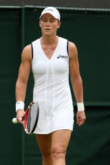 Dejected: Sam Stosur faces up to defeat.