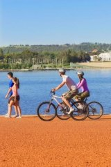 Cycling around Lake Burley Griffin, in Australia's capital.