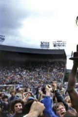 We are the champions: Hoisting the North American Soccer League trophy aloft with New York Cosmos in 1977.