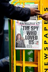 A newspaper featuring a photograph of Anna Chapman on sale at a news stand in the US.