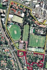 The Barker College and land it has acquired on its southern border.