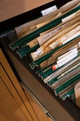 Files inside Germaine Greer's Essex office, before their journey to Melbourne.