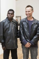 """Working family …Gurrumul with Michael Hohnen, his producer and """"wawa"""" (""""brother"""")."""