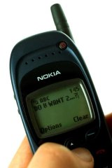 Old school ... SMS-ing in the year 2000.