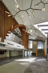 Spacious: Timber adds warmth to the Margaret Court Arena foyer.