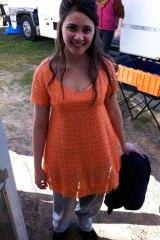Shari Sebbens, in her hastily re-hemmed dress. Photo: Tess Schofield