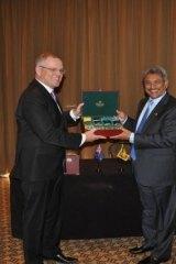 Defence secretary Mr Gotabaya Rajapaksa with Mr Morrison.