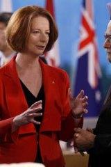 Prime Minister Julia Gillard with India's Prime Minister Manmohan Singh.