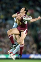 Rugby League. State of Origin. ANZ Stadium pic shows billy slater in the air Wednesday 24th June, 2009 SUN HERALD NEWS pics by anthony johnson DIGICAM 00000000