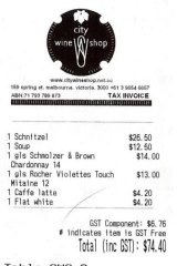 Receipt for lunch with Tom Gleeson at the City Wine Shop.