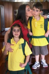 Eleni Savva with children Katerina and Alexander.