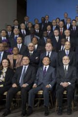 Movers and shakers ... with International Monetary Fund governors in Washington in October 2013.
