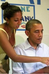 Confusing ... President Barack Obama gets shown the ropes.