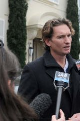Seen and heard ... Hird makes a statement to the media scrum assembled outside his Melbourne home on August 28, 2013.