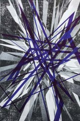 Justin Andrews' unique monochrome prints, graphite drawings and dichromatic prints-cum-marker drawings resemble a constellation of evil, razor-sharp snowflakes.