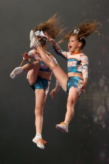 Sky high ... children competing at the cheerleading championships.