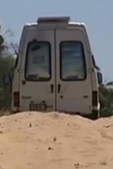 The van, stuck in a sandy track in the Murray-Sunset National Park.