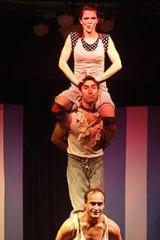 Shannon McGurgan supports Farhad Ahadi and Malia Walsh as part of Circus Trick Tease.