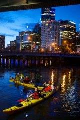 Voyagers: Yarra River night kayaking tours by Sea Kayak Australia.