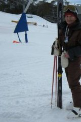 Sasha Nekvapil at 89 years, about to make first tracks on Thredbo's Merits ski run.