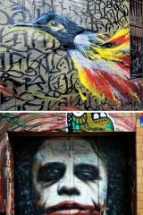 Hidden attractions (from top): art along ACDC Lane and Hosier Lane and and Banksy's <i>Little Diver</i>.