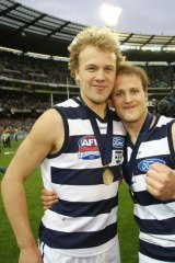 Nathan And Gary Ablett after winning the 2007 grand final with Geelong.